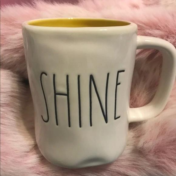 "Rae Dunn "" Shine "" Mug Yellow Interior Yellow Inside Rare 2018"